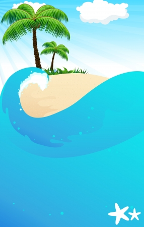 tropical beach panoramic: Tropical island with palm trees and lush vegetation  View from the sea Illustration