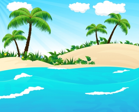 tropical beach panoramic: Sandy coast with palm trees and tropical vegetation  View from the sea Illustration