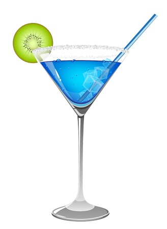 Blue cocktail with kiwi and ice cubes on white background Vector