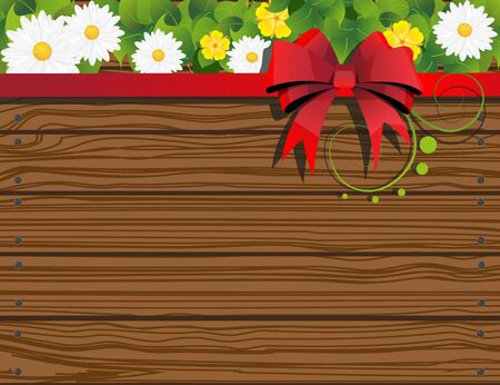 Wooden fence background with  bow and flowers Stock Vector - 19883118