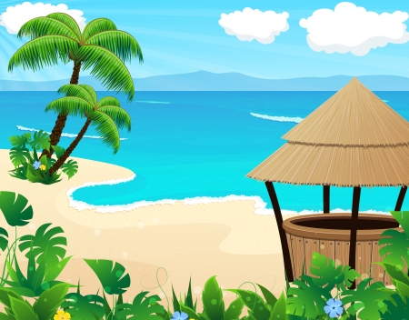 Tropical sandy coast with palm trees and bungalow bar Vector