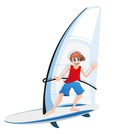 keel: Smiling boy in red shirt and blue shorts on a sail board  Isolation on white