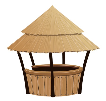 Bungalow bar with a reed roof on a white background