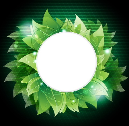 Lush foliage on a emerald background. Abstract round frame with place for text  Illustration