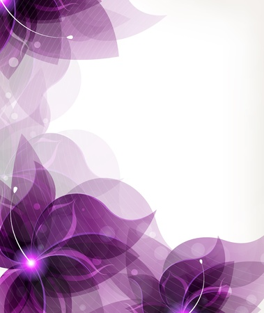 Flores lilas transparente sobre un fondo blanco con el lugar de texto