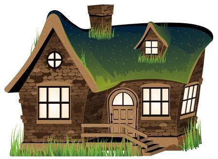 Kleine stenen huis op een witte achtergrond Stock Illustratie