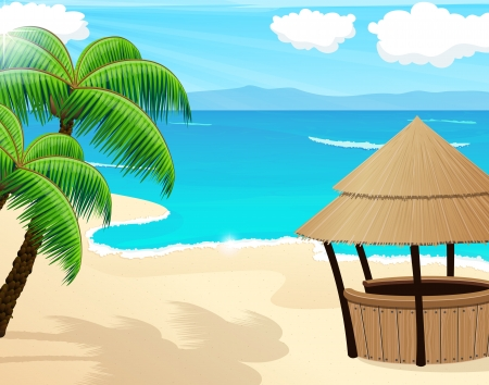 beach hut: Tropical sandy coast with palm trees and bungalow bar