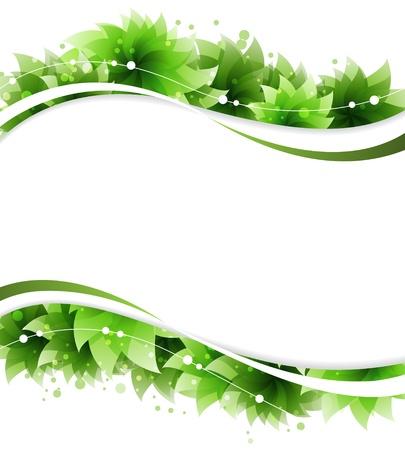 白地に緑の花。 抽象的な花のフレーム
