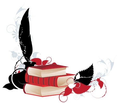 Three red  hardcover books on a floral silhouettes background.  Illustration