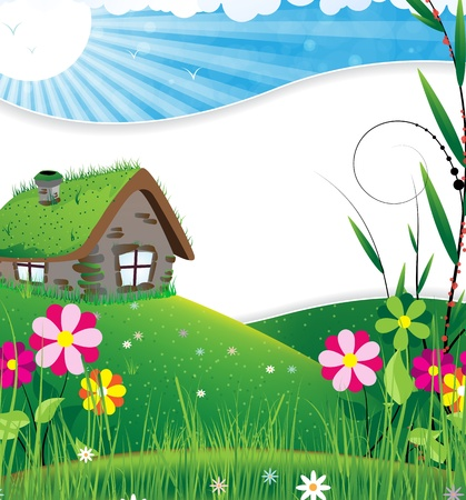 Small house in a meadow with wild flowers Vector