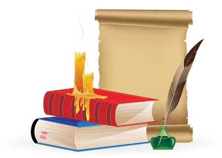 Books, scrolll, candles and inkwell with feather on a white background Vector