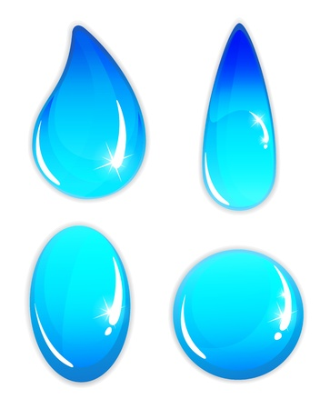 Transparent water drops on a white background.  Abstract icons set 矢量图像