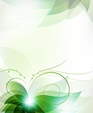 透明な緑の花。本文の場所に抽象花カード