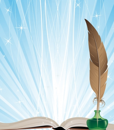 Open book, ink and feather on a blue shining background Vector