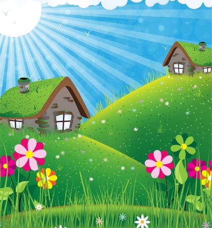 fantasy landscape: Two houses with sod roofs on a green meadow. Summer sunny landscape Illustration