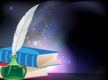 Closed books, feather and inkwell on a  blue sparkling background Vector
