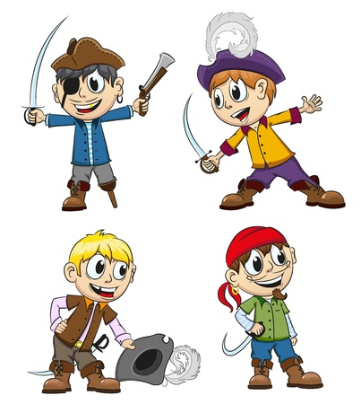 Children in pirates costumes with toy weapons on a white background Vector