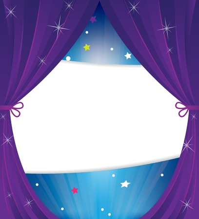 empty stage:  Theater curtain with stars and sparks.Abstract cartoon background