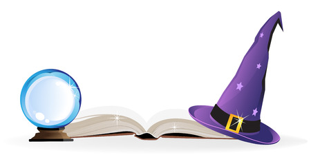 Witch hat, spell book and a magic ball on a white background