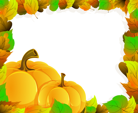 Two pumpkins on a background of autumn leaves. Halloween Greeting Card Vector