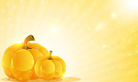 Two pumpkins on a shining background. Abstract Halloween background Vector