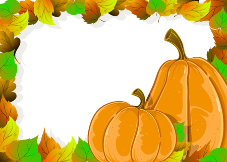 Two pumpkins and autumn leaves on a white background. Halloween frame