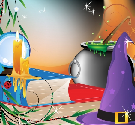 bewitchment: Witch hat , crystal sphere, lit candles, boiling cauldron and old books on magic background Illustration