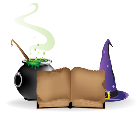 Witch hat, boiling cauldron and old book on a white background