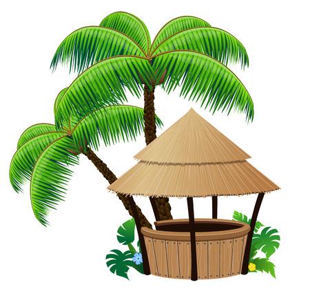 방갈로: 흰색 배경에 방갈로 바, 코코넛 야자수 일러스트