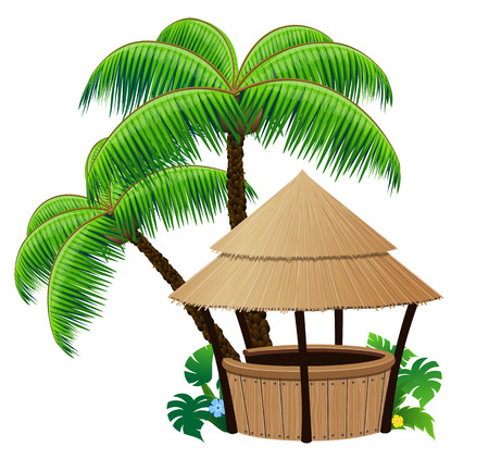 huts:  Bungalow bar and coconut palms on a white background Illustration