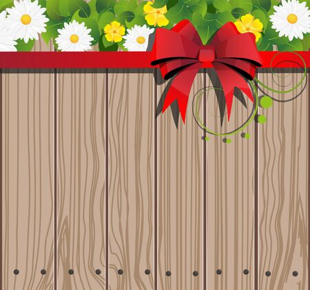 Wooden fence background with  bow and flowers Stock Vector - 22207049