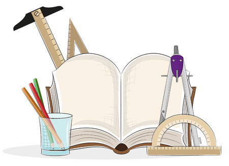 compasses: Open book and drawing tools on a white background
