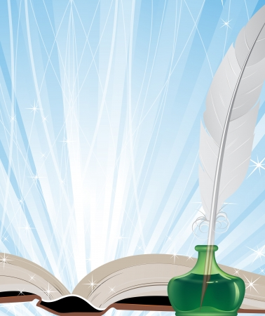 Open book, ink and white feather on a blue shining background Vector