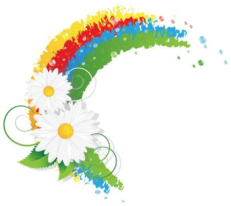 Abstract rainbow and chamomiles with leaves on a white background. Conceptual illustration Vector