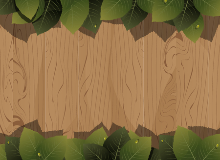 Lush foliage with water drops on a wooden fence background  Vector