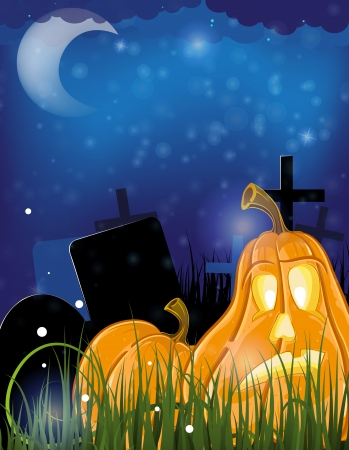 Moonlight lanterns: Evil pumpkin head on a night cemetery. Abstract Halloween  background