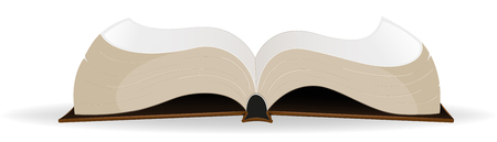 classbook:  Open  hardcover book on a white background.
