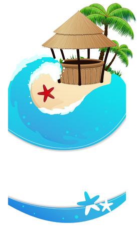 Playa tropical con palmeras y un bar bungalow. Marco complejo abstracto. Ilustración de vector