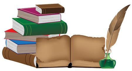 スタックの古い書籍や筆記用具  イラスト・ベクター素材