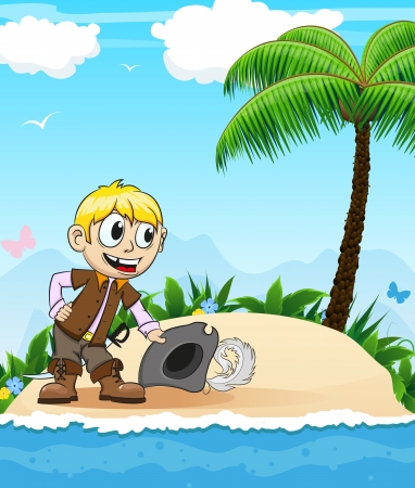 character traits: Good natured pirate takes off his hat  and bow. Invitation to a desert island