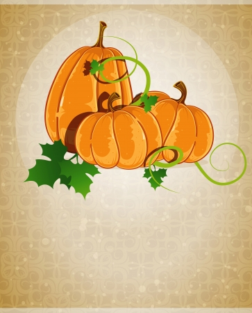Three pumpkins with sprouts and leaves on a beige background with retro patterns