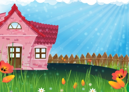 Red house with a tiled roof on a sunny meadow. Rural landscape Illustration