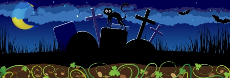 moody: Night cemetery with a black cat on a gravestone. Abstract  Halloween landscape