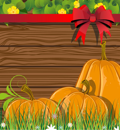 Pumpkins with leaves and sprouts on a background of wooden boards Vector