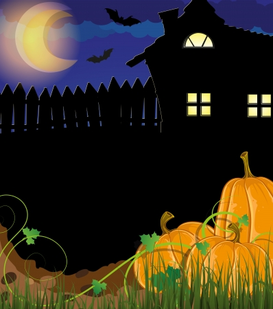 Pumpkins in a grass near the house with glowing windows. Halloween night scene