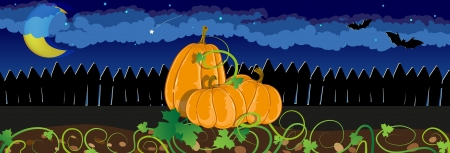 Three pumpkins with sprouts and leaves near the fence. Halloween night scene Vector