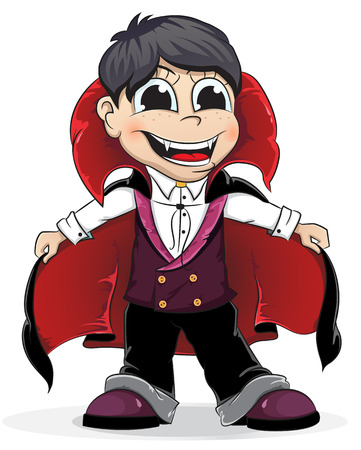 Boy dressed as a vampire on a white background. Halloween character Vector