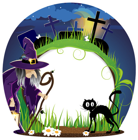 Wicked witch with a lantern and  black cat on a  night cemetery. Halloween background Vector