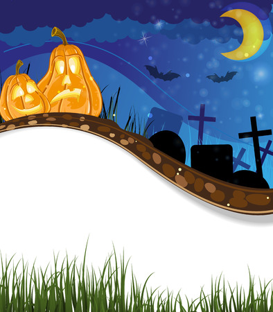 Funny pumpkin heads on the night cemetery. Abstract Halloween background