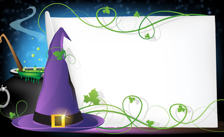 Witch hat, boiling cauldron and sheet of paper on a blue background